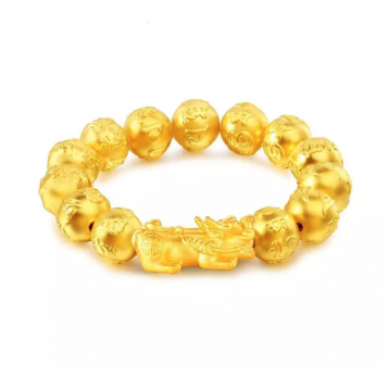 Gold Colour Pi Xiu Wealth, Lucky Mantras Bracelet