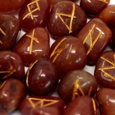 Magical Red Aventurine Runes Stone +gift bag