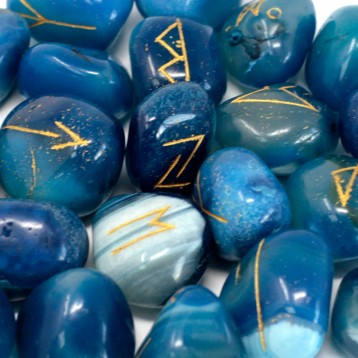 Magical Blue Onyx Runes Stone +gift bag