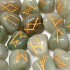 Magical Green Aventurine Runes Stones + gift bag