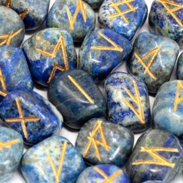 Magical Lapiz Lazuli Runes Stone +velvet gift bag